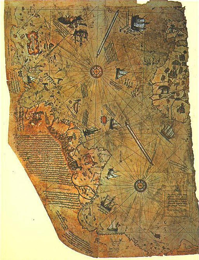 Сохранившийся фрагмент карты Пири Рейса. 1513
