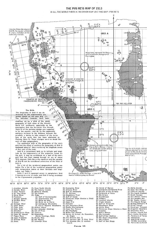 Карта Пири Рейса со спроектированными параллелями и меридианами: